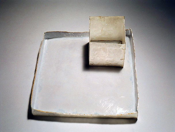 A fine silver and vitreous enamel tray
